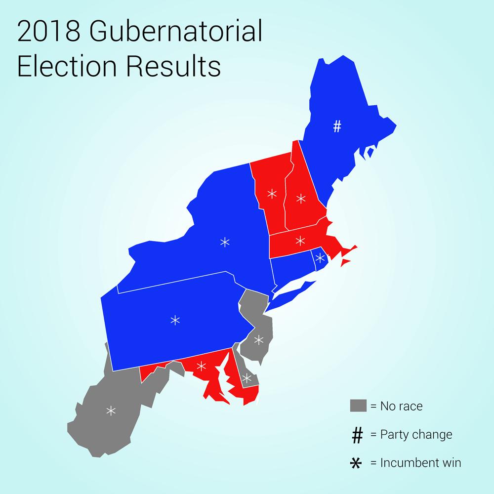 2018 Gubernatorial Election Results - Northeast