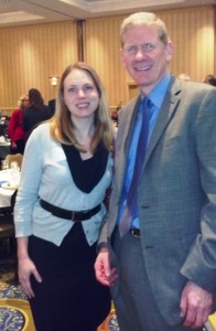 Incoming EESE board chair Kate Peters with recent chair Dick Ober at the Green Eggs and New Hampshire Environmental Policy Breakfast.