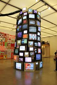 A towering array of television sets at the ICA in Boston, MA (Barry McGee exhibit)
